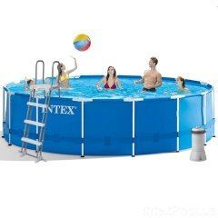 Каркасный бассейн Intex 28242 New, 457 x 122 см (3 785 л/ч, лестница, тент, подстилка)