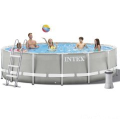 Каркасный бассейн Intex 26720 New, 427 х 107 см (3 785 л/ч, лестница, тент, подстилка)