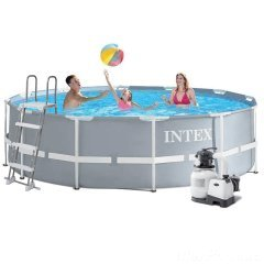 Каркасный бассейн Intex 26718 - 7 New, 366 х 122 см (6 000 л/ч, лестница, тент, подстилка)
