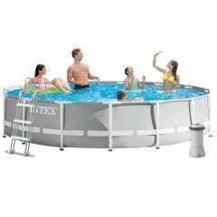 Каркасный бассейн Intex 26724 New, 457 х 107 см (3 785 л/ч, лестница, тент, подстилка)