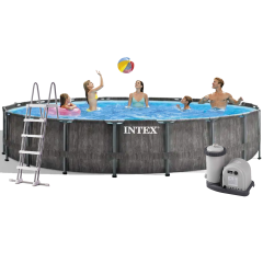 Каркасный бассейн Intex 26744 New, 549 x 122 см (5 678 л/ч, лестница, тент, подстилка)